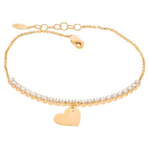 585er Rotgold Damen Armband mit Zirkonia Herz Anhänger